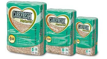 3 different sized bags of CareFRESH (R) brand pet bedding