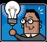 business man holding lighbulb