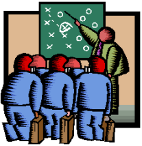 illustration of sales people looking at chalk board with x's and o's