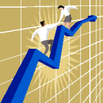 graphic of sales man & woman climbing a graph