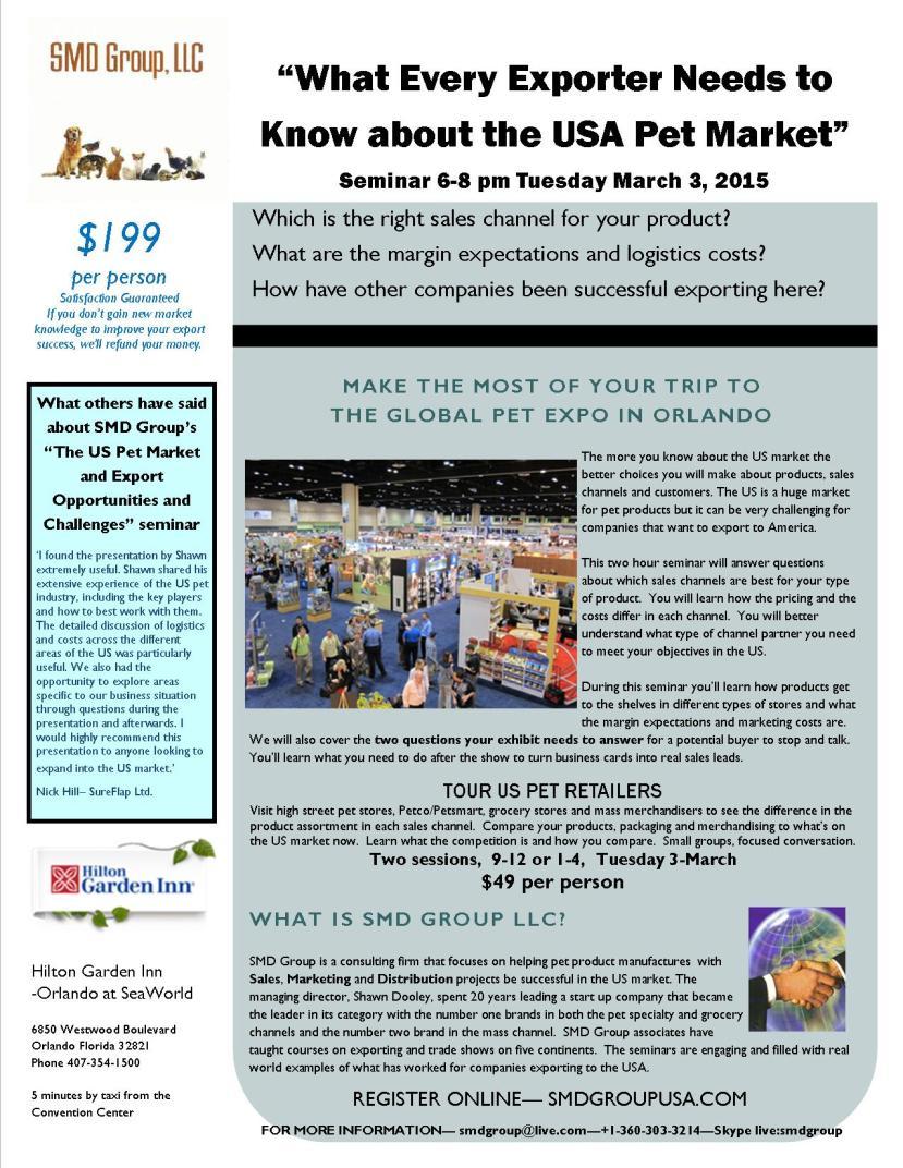 seminar brochure for export seminare at the Global Pet Exp